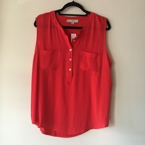 LOFT NWT Poppy red button up shell size XL